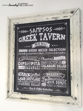 Greek Dinner Party Menu Board by Sassaby Parties