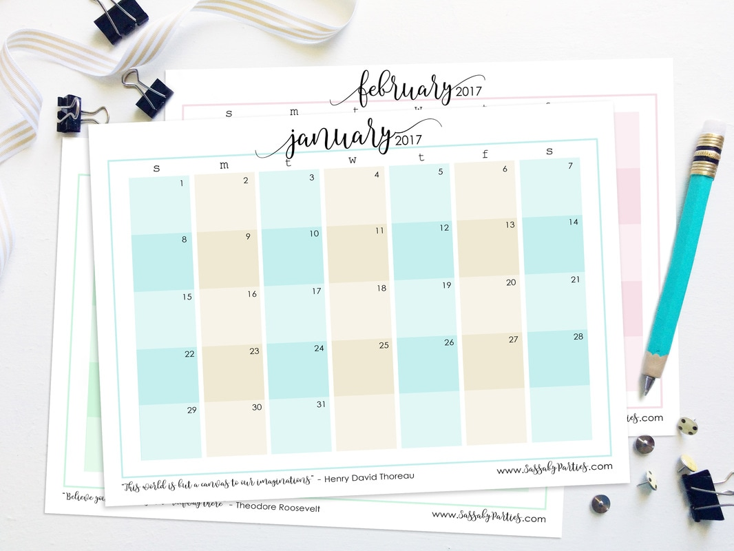 2017 Planner Calendar Free Printable from SassabyParties.com