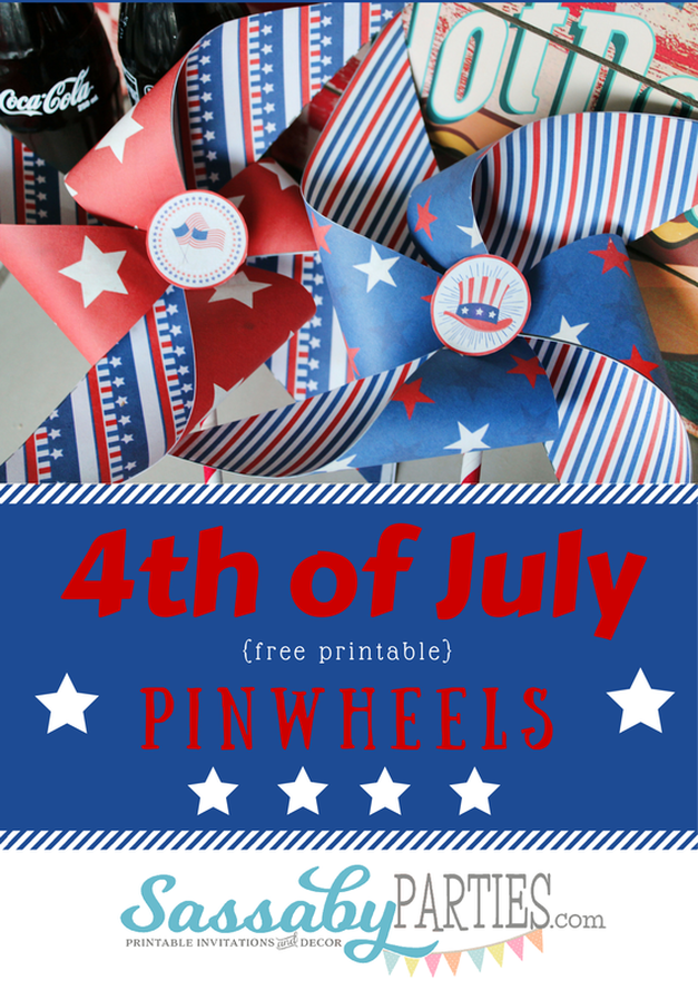 Free Printable 4th of July Pinwheels by Sassaby Parties www.sassabyparties.com