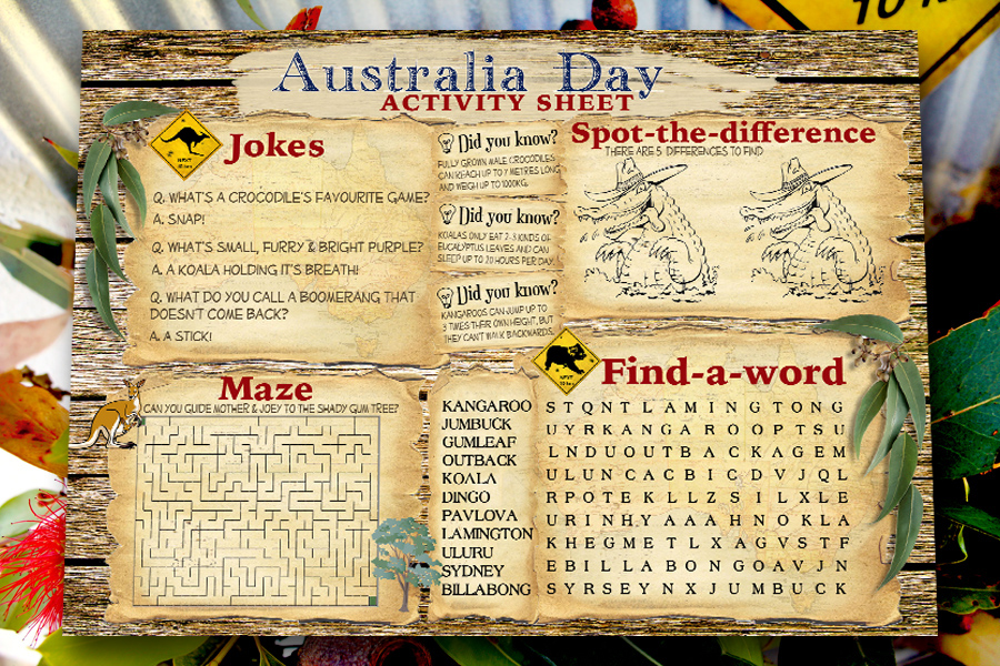 Australia Day Activity Sheet Free Printable from SassabyParties.com