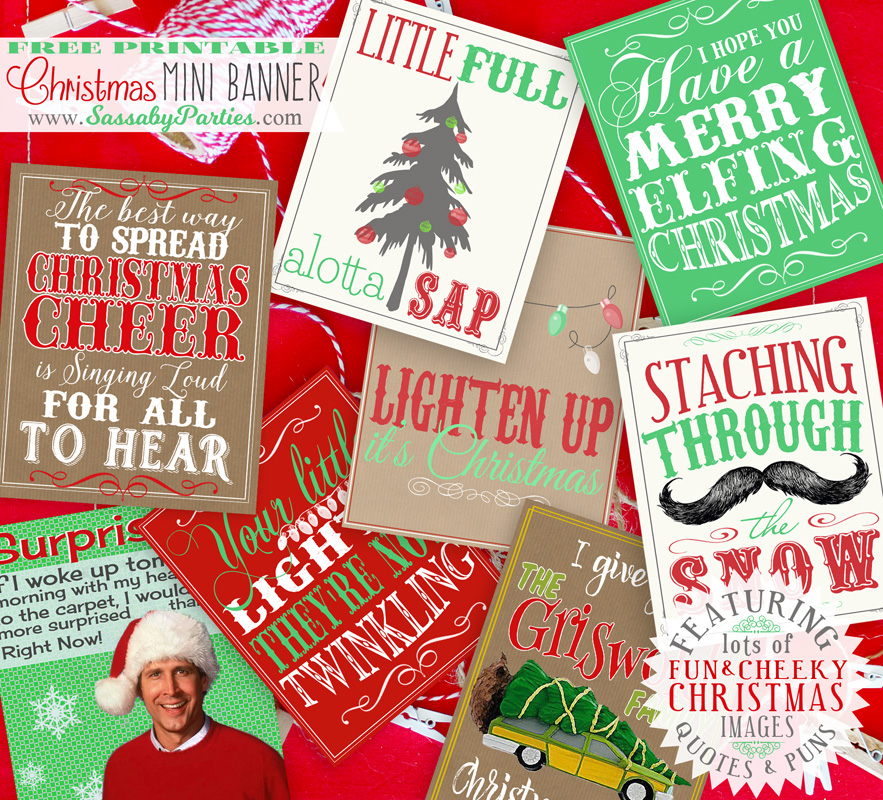 fun christmas images quotes puns free printable mini banner love this christmas decoration - Christmas Decoration Quotes