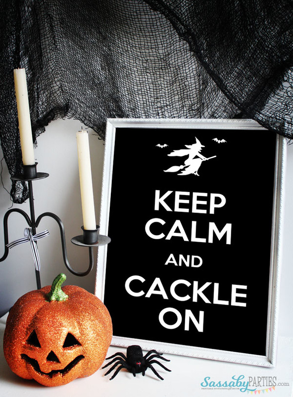 Keep Calm and Cackle On Free Printable Poster from SassabyParties.com