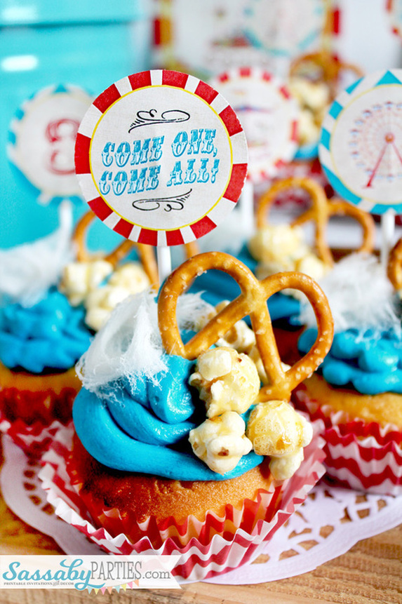 Vintage Carnival Cupcakes by SassabyParties.com