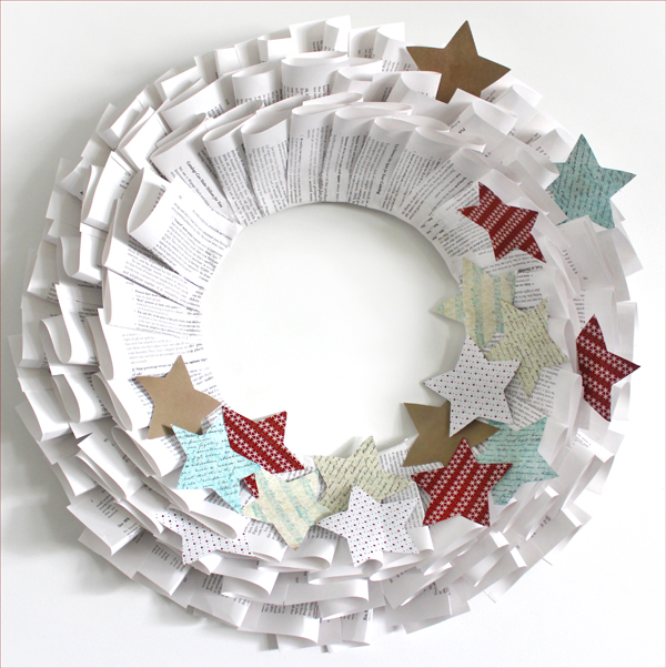 Little Decor Ideas To Make At Home: Handmade Old Book Paper Christmas Wreath {How To}