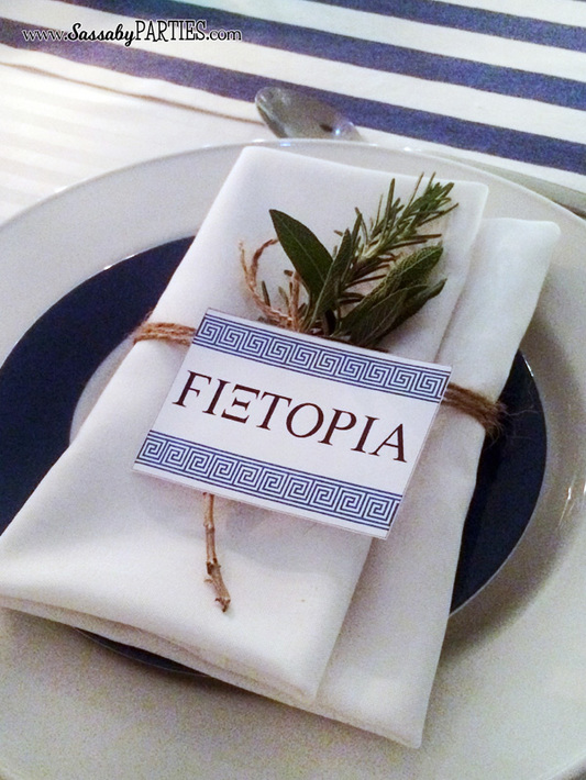Greek Party place setting by Sassaby Parties & Greek Dinner Party - The Sassaby Party Co.