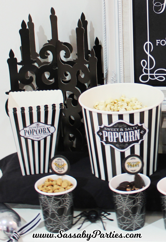Halloween Horror Movie Party Popcorn Stand SassabyParties.com