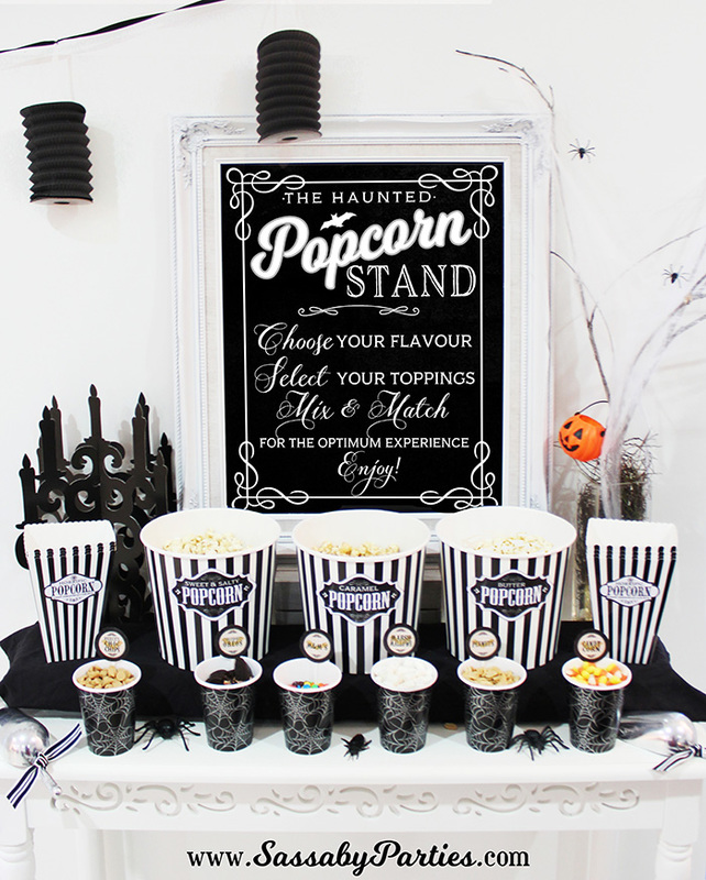 Halloween Horror Movie Party Haunted Popcorn Stand SassabyParties.com