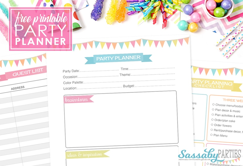 Party planner free printable 14 pages the sassaby party co Planner websites