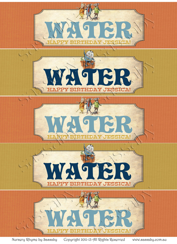 nursery rhyme water labels
