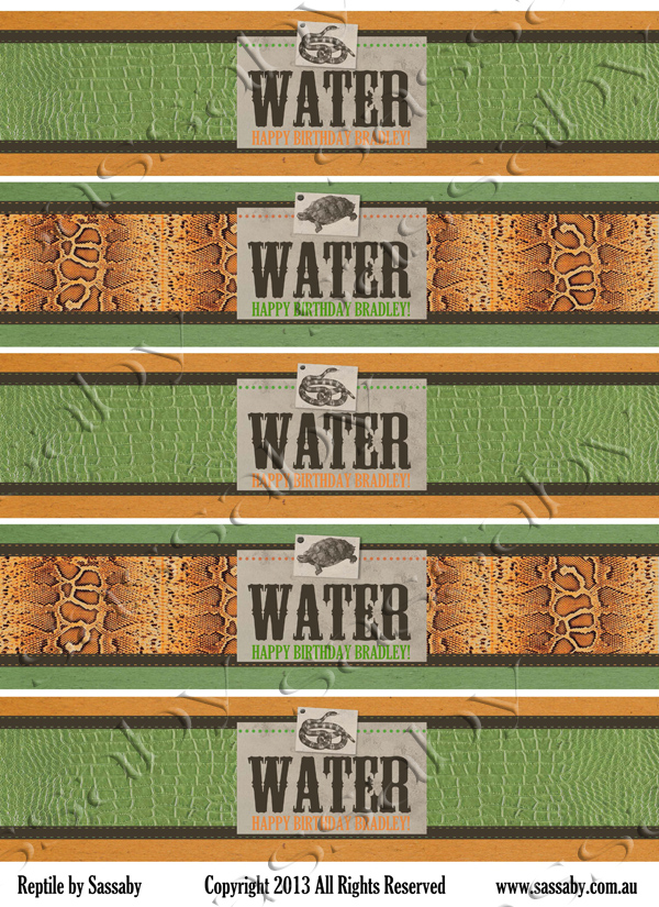 Reptile Water Bottle Labels