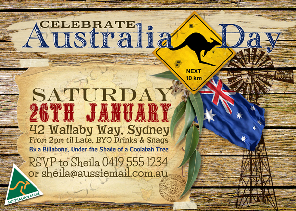 australia day outback invitation