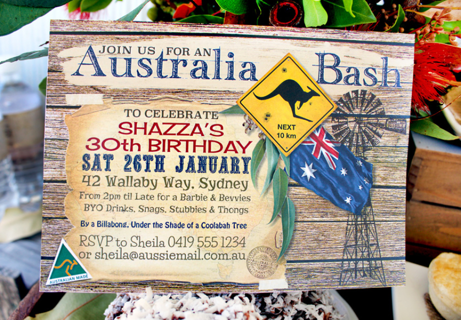 Australia day party invitations and decorations for Australian decoration
