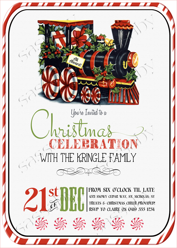 candy train christmas invitation