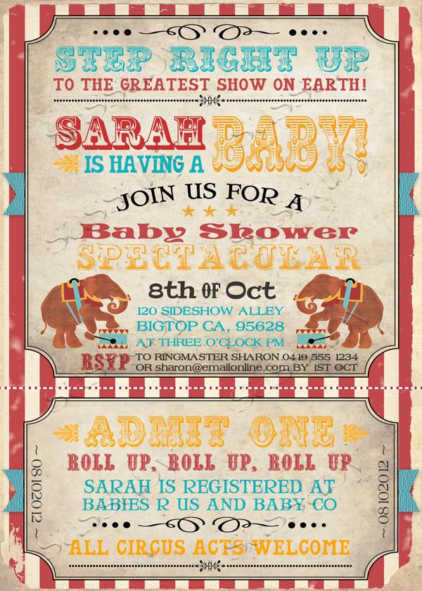 Vintage Circus Baby Invitation Aqua