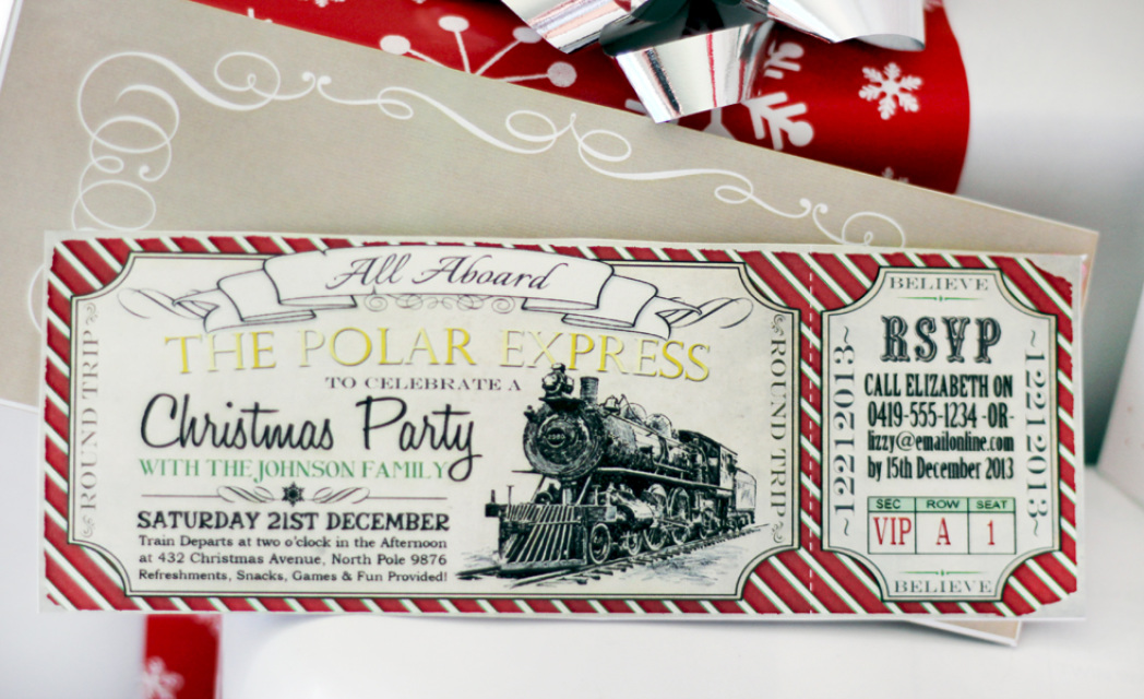 Polar express christmas invitation red maxwellsz