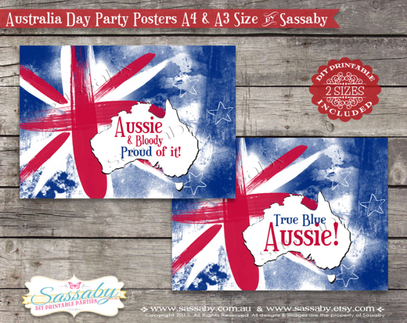 Australia Day Posters – Australia Day Party Invitations