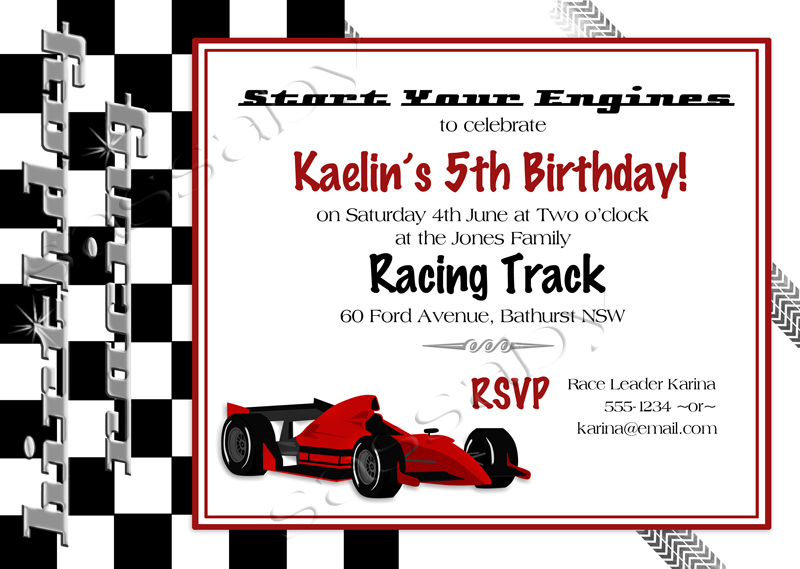 racing car invitation, Birthday invitations