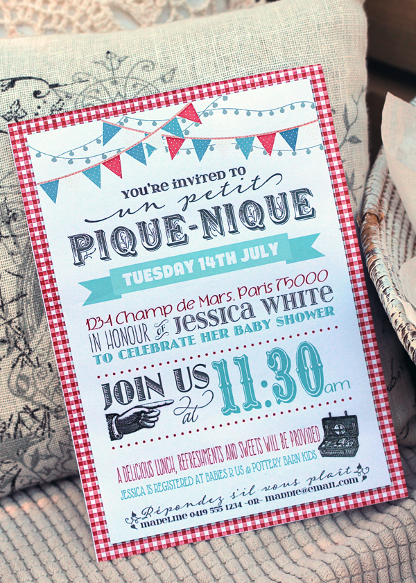 French Picnic Party Invitation  Birthday Bridal Or Baby Shower