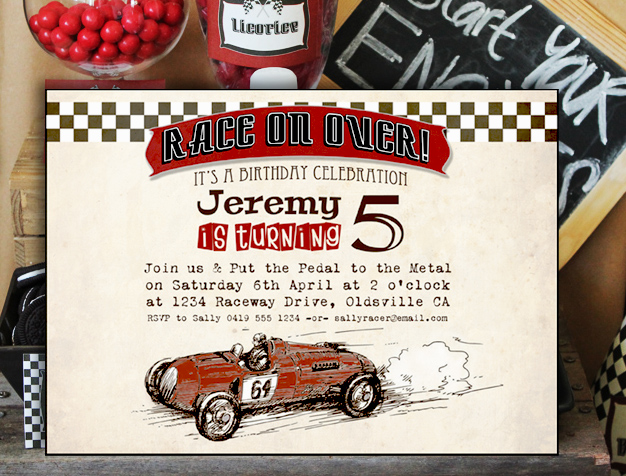 vintage racing car boys party birthday invitations and