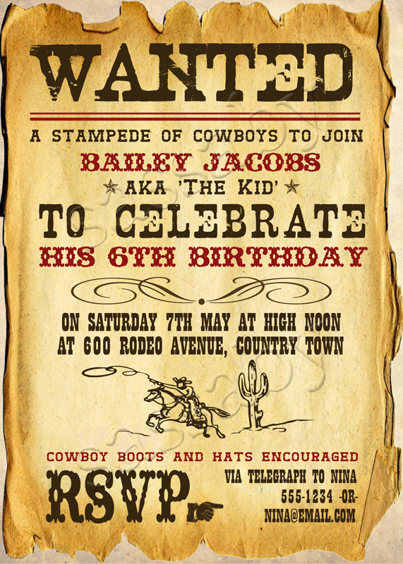 wild west cowboy invitation