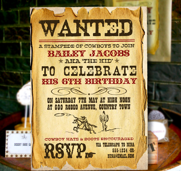 Wild West Cowboy boys party birthday invitations and decorations – Wild West Party Invites