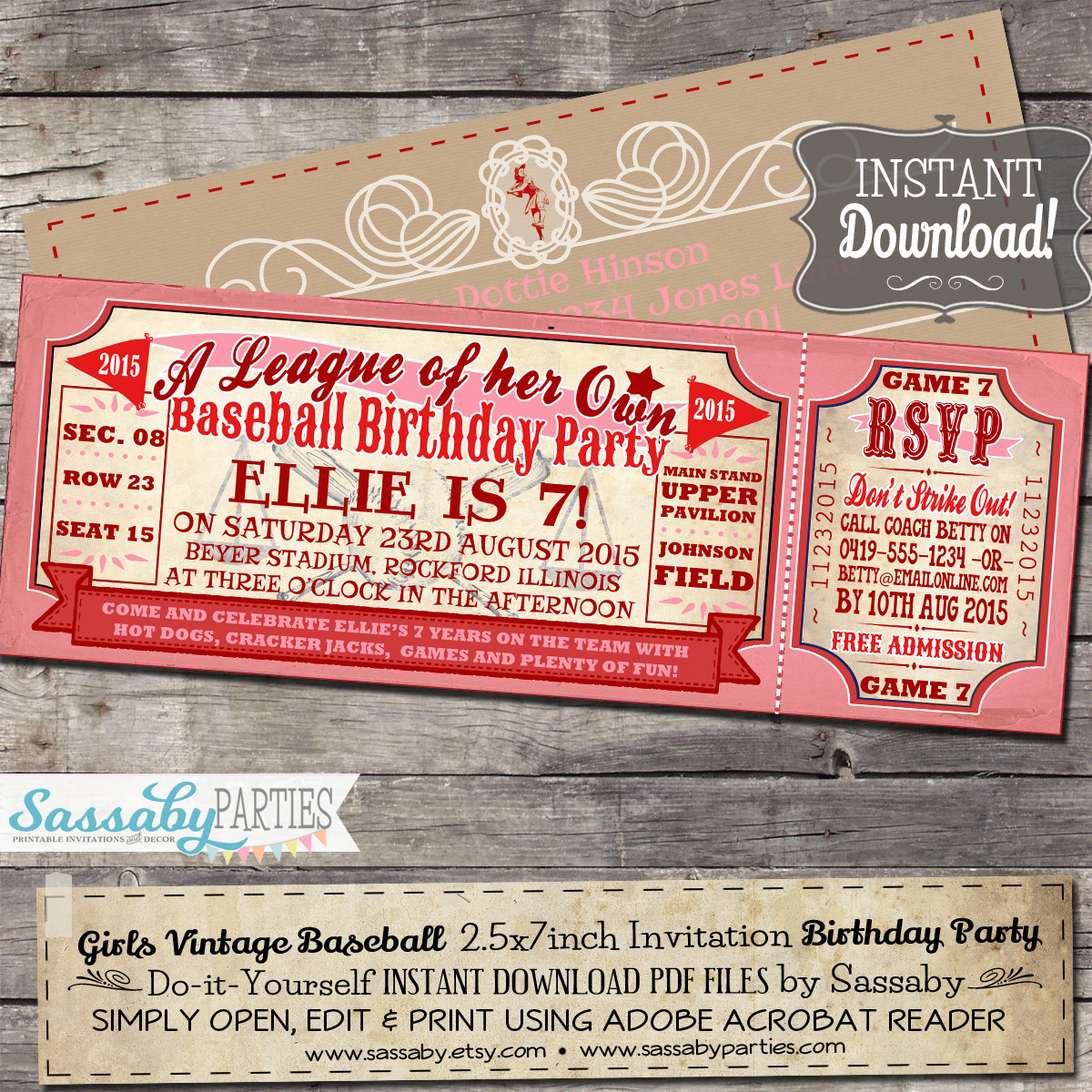 Vintage baseball girl invitation solutioingenieria Image collections