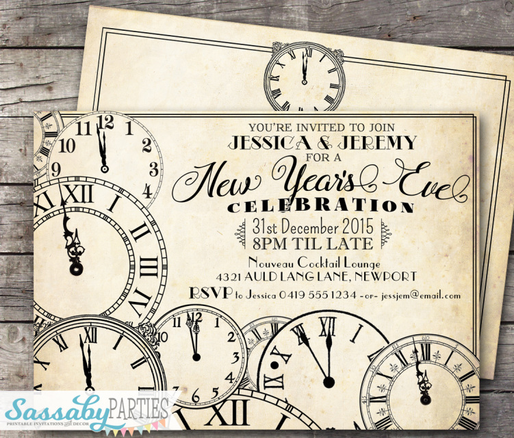 vintage clocks new years invitation