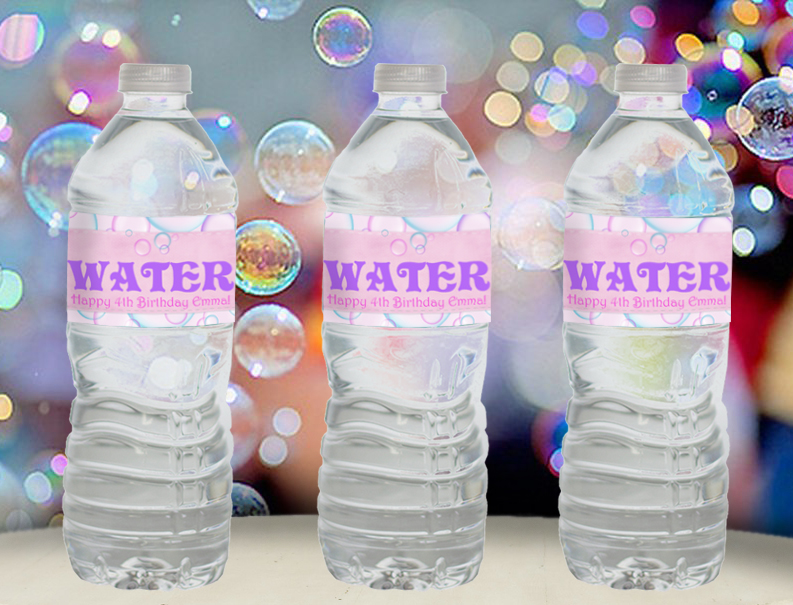 Bubbles water bottle labels for Bubble bottle label template