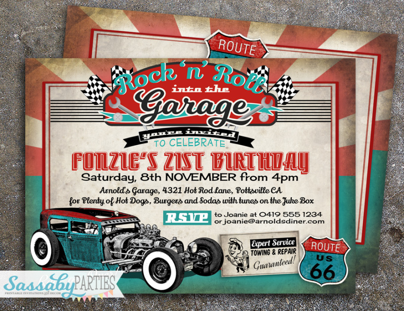 50s Garage Rock\'n\'Roll Hot Rod Invitation