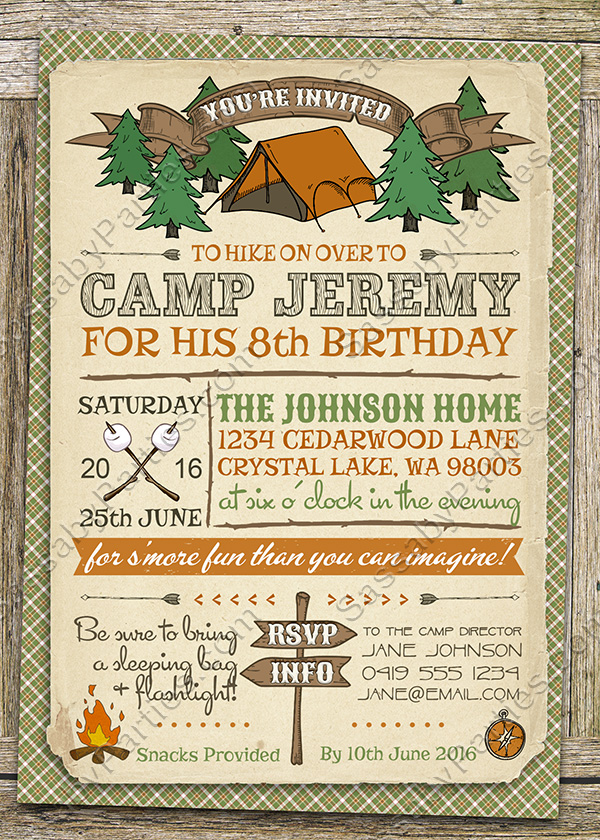 camping party invitation - Camping Party Invitations