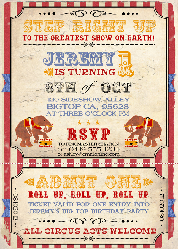 Vintage circus invitation stopboris Image collections
