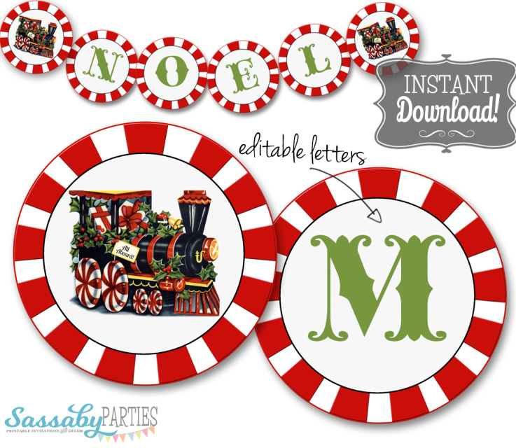 Christmas Candy Train.Christmas Party Banner Candy Train