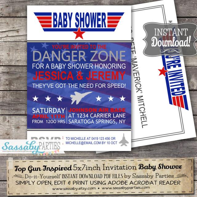 top gun baby shower invitation