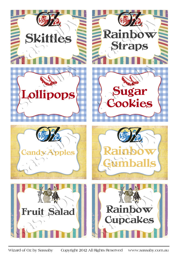 Wizard Of Oz Party Labels