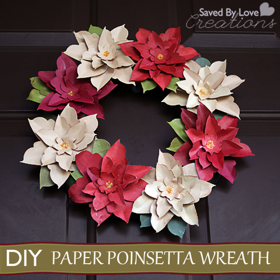 21 diy christmas paper decorations the sassaby party co diy paper poinsettia christmas wreath from saved by love creations mightylinksfo