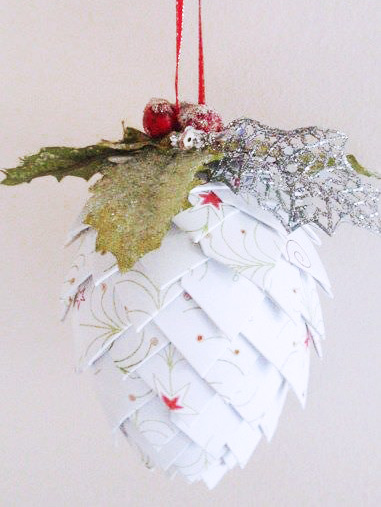 Paper Pinecone Ornaments from The Hybrid Chick