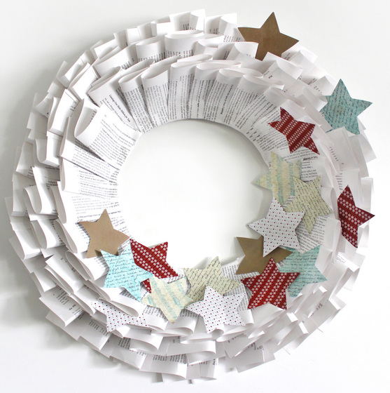 Old Book Christmas Paper Wreath by Sassaby Parties