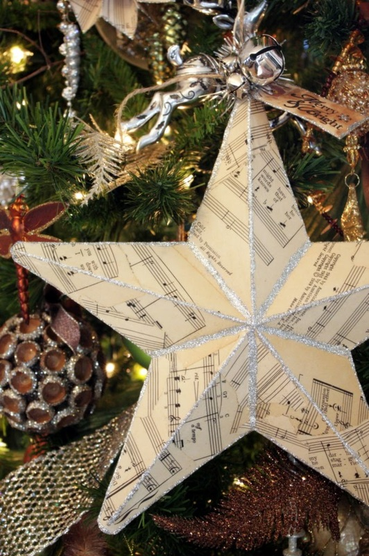 Music Paper Christmas Star tutorial from Sweet Something Designs