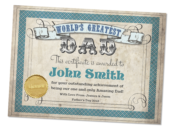 World's Greatest Dad editable & printable Certificate from SassabyParties