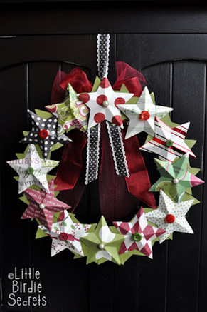 3D Paper Star Christmas Wreath from Little Birdie Secrets