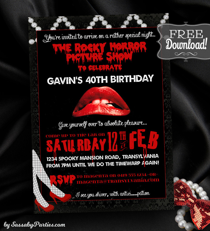 Rocky Horror Picture Show Birthday Party Invitation Free Download from SassabyParties.com