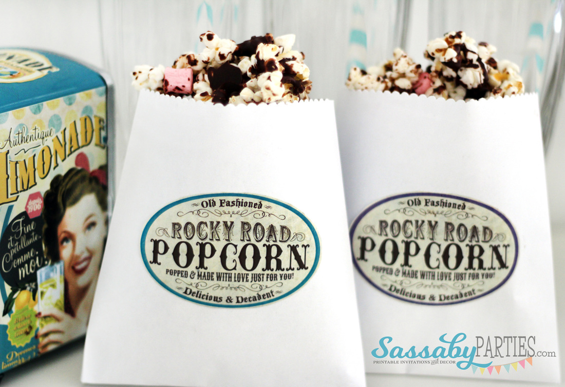 Rocky Road Popcorn with Free Printable Labels by Sassaby Parties