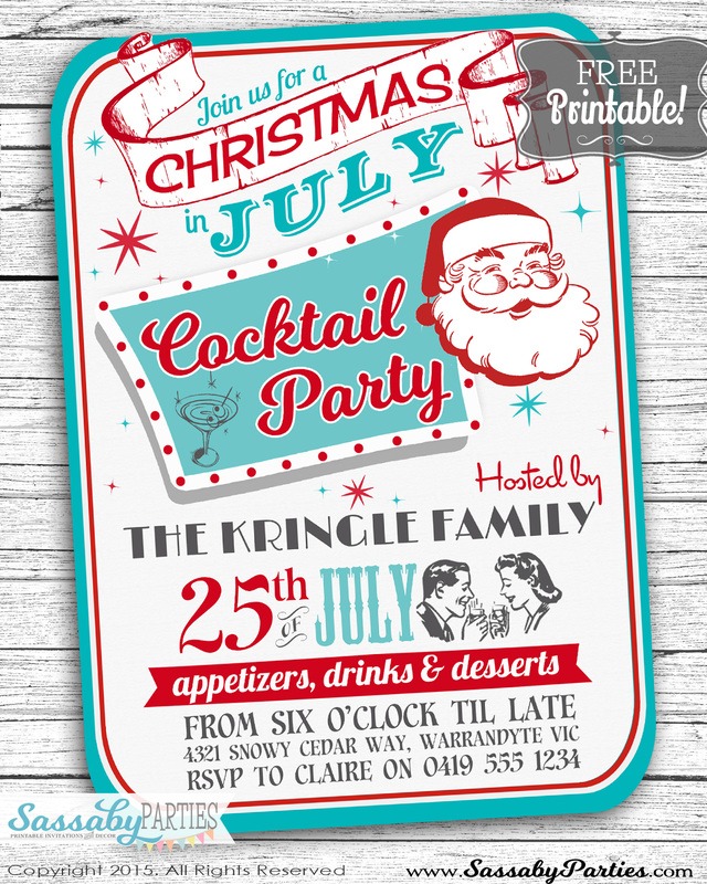 Have a fun Christmas in July Cocktail Party with our Free editable & printable Invitation. Grab it at our Blog!