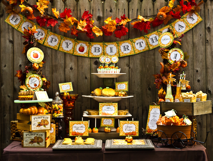 Fall Dessert Table by Cutie Putti Paperie via Sweet Designs by Amy Atlas