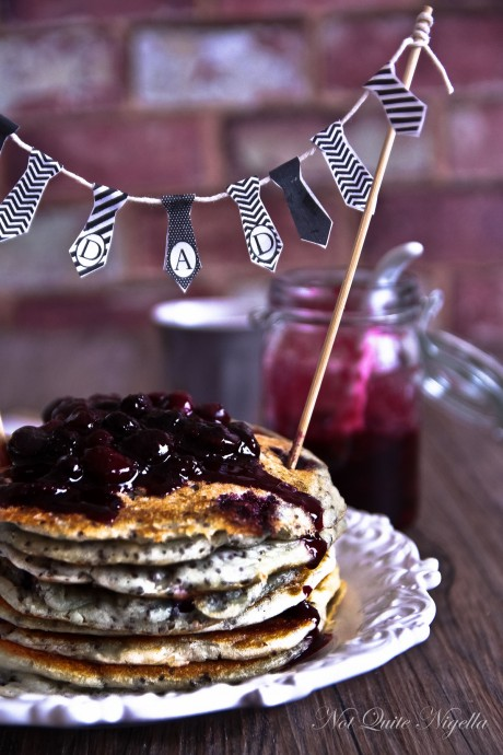Blueberry Father's Day Pancakes with mini Neck Tie Bunting from Not Quite Nigella