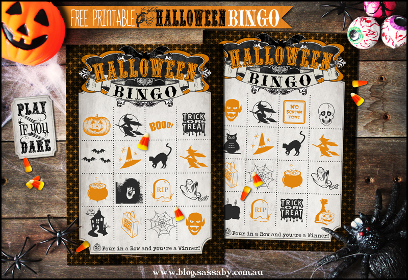 Free Printable Halloween Bingo Set from SassabyParties.com