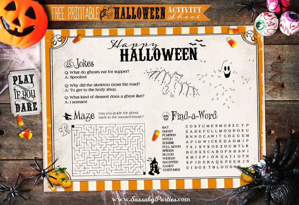 Halloween Activity Sheet Free Printable from SassabyParties.com