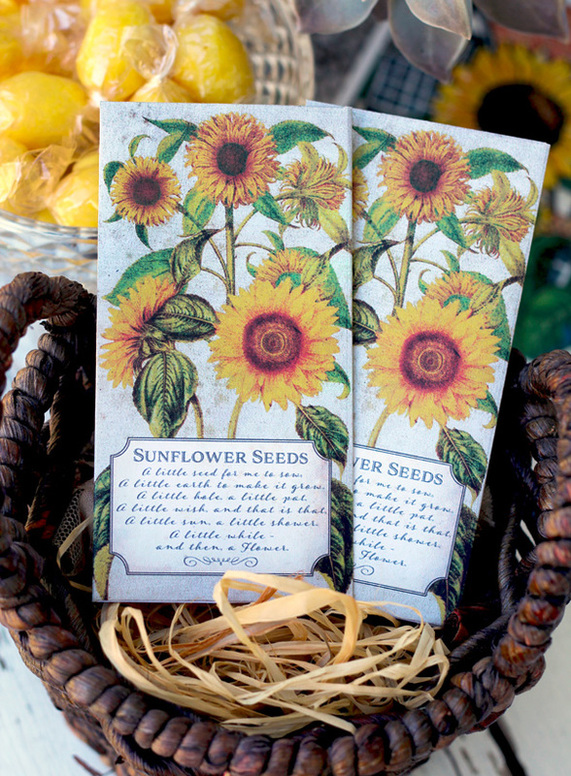 Free Printable Sunflower Seed Sachet Party Favors by www.SassabyParties.com Grab them at our Blog!