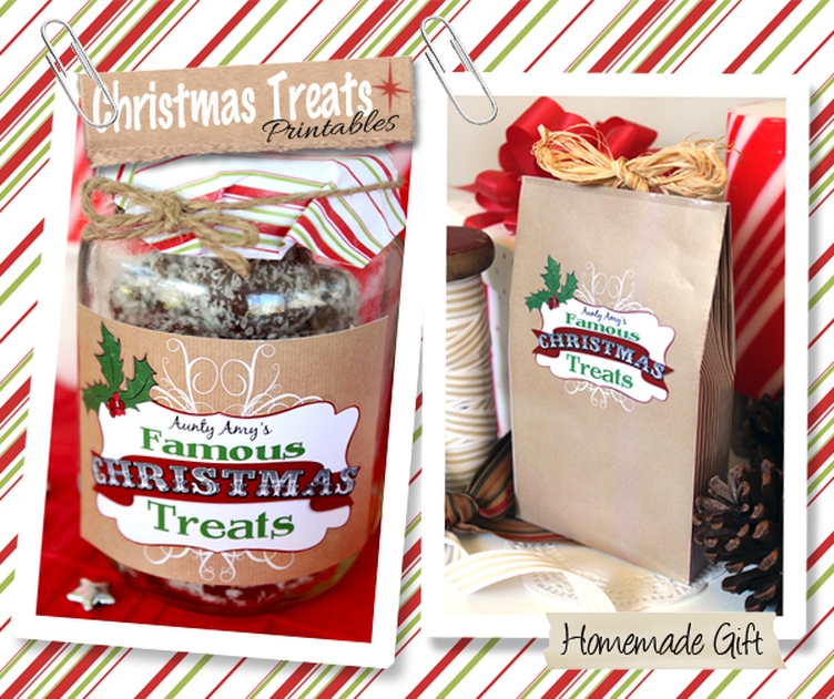 Christmas Treats Free Printable Labels and Gift Bag. Perfect for homemade yummy treats for the holiday season from SassabyParties.com
