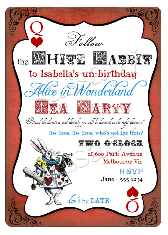 Alice In Wonderland Editable And Printable Party Invitation And